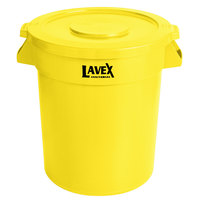 Lavex Janitorial 20 Gallon Yellow Round Commercial Trash Can and Lid