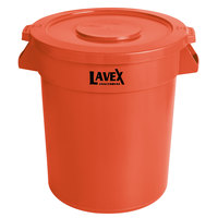 Lavex Janitorial 20 Gallon Orange Round Commercial Trash Can and Lid