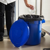 Lavex Janitorial 10 Gallon Blue Round Commercial Trash Can and Lid