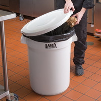 Lavex Janitorial 32 Gallon White Round Ingredient Bin / Commercial Trash Can and Lid