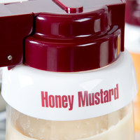 Tablecraft CM10 Imprinted White Plastic Honey Mustard Salad Dressing Dispenser Collar with Maroon Lettering