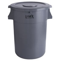 Lavex Janitorial 44 Gallon Gray Round Commercial Trash Can and Lid