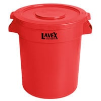 Lavex Janitorial 20 Gallon Red Round Commercial Trash Can and Lid
