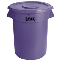 Lavex Janitorial 32 Gallon Purple Round Commercial Trash Can and Lid