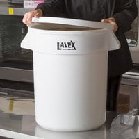 Lavex Janitorial 20 Gallon White Round Ingredient Bin / Commercial Trash Can and Lid