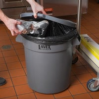 Lavex Janitorial 20 Gallon Gray Round Commercial Trash Can and Lid