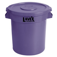 Lavex Janitorial 10 Gallon Purple Round Commercial Trash Can and Lid