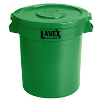 Lavex Janitorial 10 Gallon Green Round Commercial Trash Can and Lid