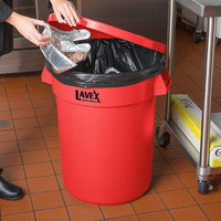 Lavex Janitorial 32 Gallon Red Round Commercial Trash Can and Lid