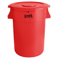 Lavex Janitorial 44 Gallon Red Round Commercial Trash Can and Lid