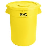 Lavex Janitorial 32 Gallon Yellow Round Commercial Trash Can and Lid