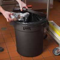 Lavex Janitorial 20 Gallon Brown Round Commercial Trash Can and Lid