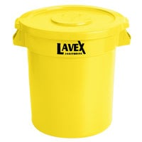 Lavex Janitorial 10 Gallon Yellow Round Commercial Trash Can and Lid