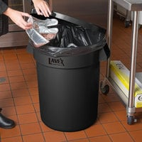 Lavex Janitorial 32 Gallon Black Round Commercial Trash Can and Lid