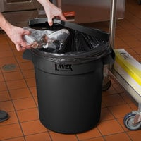 Lavex Janitorial 20 Gallon Black Round Commercial Trash Can and Lid