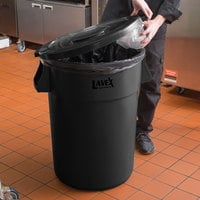 Lavex Janitorial 44 Gallon Black Round Commercial Trash Can and Lid