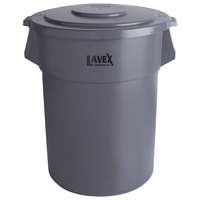 Lavex Janitorial 55 Gallon Gray Round Commercial Trash Can and Lid