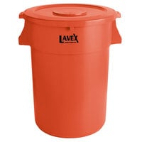 Lavex Janitorial 44 Gallon Orange Round Commercial Trash Can and Lid