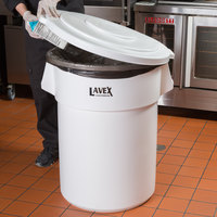 Lavex Janitorial 55 Gallon White Round Ingredient Bin / Commercial Trash Can and Lid
