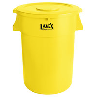 Lavex Janitorial 44 Gallon Yellow Round Commercial Trash Can and Lid