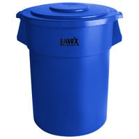 Lavex Janitorial 55 Gallon Blue Round Commercial Trash Can and Lid