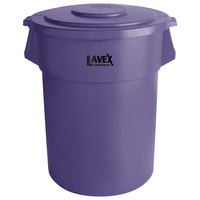 Lavex Janitorial 55 Gallon Purple Round Commercial Trash Can and Lid
