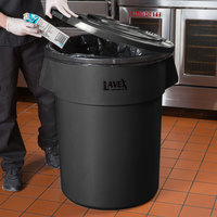 Lavex Janitorial 55 Gallon Black Round Commercial Trash Can and Lid