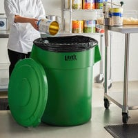 Lavex Janitorial 55 Gallon Green Round Commercial Trash Can and Lid