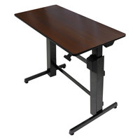 "WorkFit by Ergotron 24271927 Walnut and Black Sit-Stand Workstation / Stand Up Desk - 47 5/8"" x 23 1/2"" x 50 5/8"""