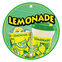 12 inch Round Concession Stand Sign with Lemonade Design - 2/Pack