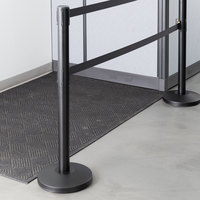 Lancaster Table & Seating Black 40 inch ADA Compliant Stanchion with Dual 10' Retractable Belt