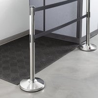 Lancaster Table & Seating Chrome 40 inch ADA Compliant Stanchion with Dual 10' Retractable Belt