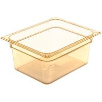 Carlisle 10422B13 StorPlus 1/2 Size Amber High Heat Plastic Food Pan - 6 inch Deep