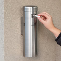 Lavex Janitorial 12 3/4 inch Stainless Steel Wall Mounted Cigarette / Ash Receptacle