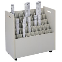 Safco 3083 30 1/4 inch x 15 3/4 inch x 29 1/4 inch Putty 50-Compartment Laminate Mobile Roll File