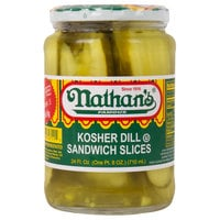 Nathan's Famous 24 oz. Kosher Dill Pickle Sandwich Slices - 12/Case