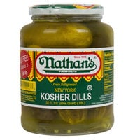 Nathan's Famous 32 oz. New York Kosher Dill Pickles - 12/Case