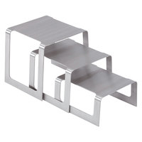 Vollrath 46009 Brushed Stainless Steel 3-Piece Square Bent Buffet Riser Set