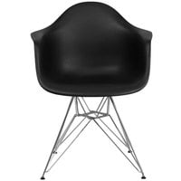 Flash Furniture FH-132-CPP1-BK-GG Alonza Black Plastic Chair with Chrome Base