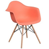 Flash Furniture FH-132-DPP-PE-GG Alonza Peach Plastic Chair with Wood Base