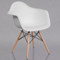 Flash Furniture FH-132-DPP-WH-GG Alonza White Plastic Chair with Wood Base