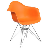 Flash Furniture FH-132-CPP1-OR-GG Alonza Orange Plastic Chair with Chrome Base