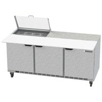 Beverage-Air SPE72HC-08C-CL Elite 72 inch 3 Door Refrigerated Sandwich Prep Table with 17 inch Deep Cutting Board and Clear Lid