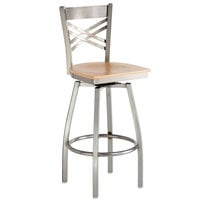 Lancaster Table & Seating Cross Back Bar Height Clear Coat Swivel Chair with Natural Wood Seat