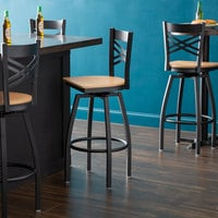 Lancaster Table & Seating Cross Back Bar Height Black Swivel Chair with Natural Wood Seat