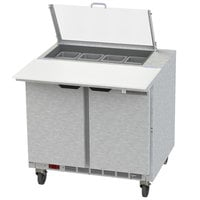 Beverage-Air SPE36HC-08C-CL Elite 36 inch 2 Door Refrigerated Sandwich Prep Table with 17 inch Deep Cutting Board and Clear Lid