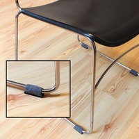 Master Caster 88458 Gray / Black Wraparound Felt Floor Protectors for Sled Base Chairs - 16/Pack