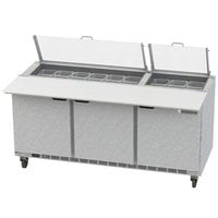 Beverage-Air SPE72HC-18C-CL Elite 72 inch 3 Door Refrigerated Sandwich Prep Table with 17 inch Deep Cutting Board and Clear Lid