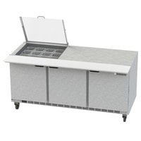 Beverage-Air SPE72HC-12M-CL Elite 72 inch 3 Door Mega Top Refrigerated Sandwich Prep Table
