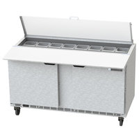Beverage-Air SPE60HC-16C-CL Elite 60 inch 2 Door Refrigerated Sandwich Prep Table with 17 inch Deep Cutting Board and Clear Lid